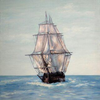 Żaglowiec - Obraz olejny na płótnie – Dorota Waberska
