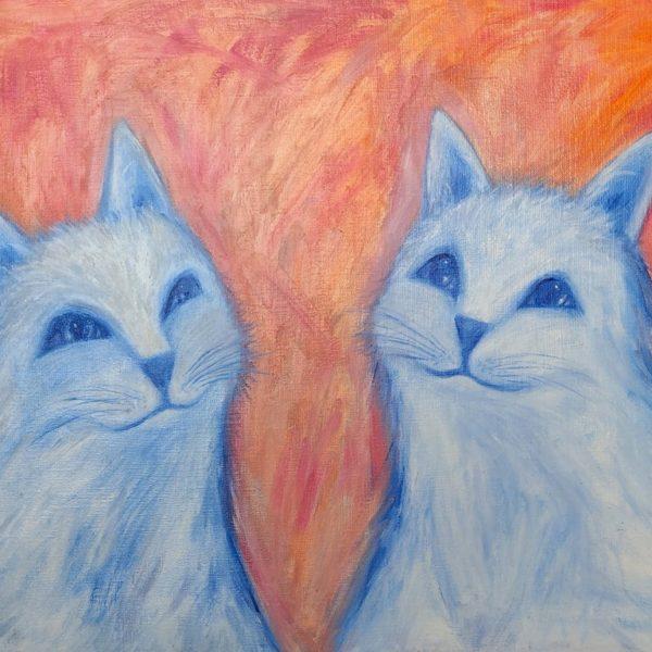 Niebieskie Koty - Olej na płótnie – Dorota Waberska