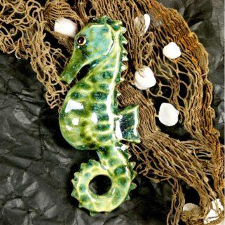 Ceramiczny Konik Morski - Zielonkawy