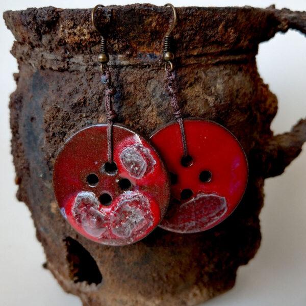 Kolczyki ceramiczne - Erupcja Czerwieni