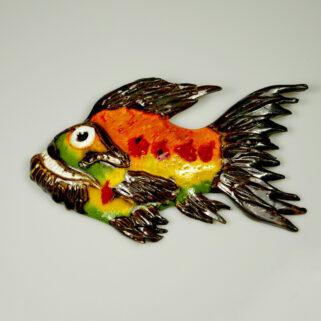 Ryba ceramiczna Niesforna, kolorowa dekoracja ściany