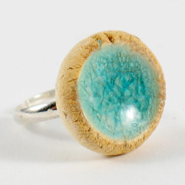 Pierścionek ceramiczny Mrożony Błękit