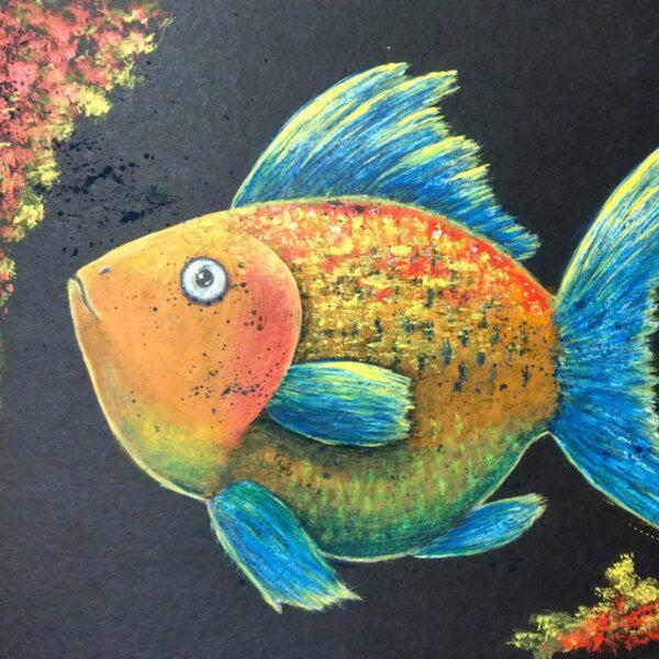 Wielobarwna Ryba -obraz akrylowy