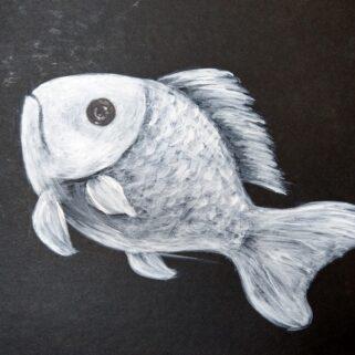 Biała Ryba - obraz akrylowy, namalowany ręcznie, prezent dla wędkarza.