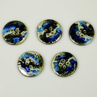 Guzik ceramiczny okrągły niebiesko-granatowy, rękodzieło