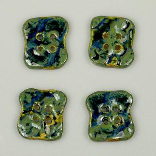 Guzik ceramiczny nieregularny zielono-granatowy, ozdobny
