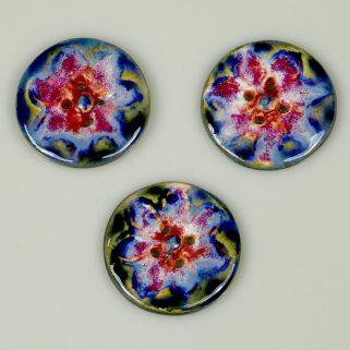 Guzik ceramiczny okrągły niebiesko-czerwony, dekoracyjny