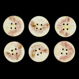 Guzik ceramiczny okrągły beżowo-różowy, rękodzieło