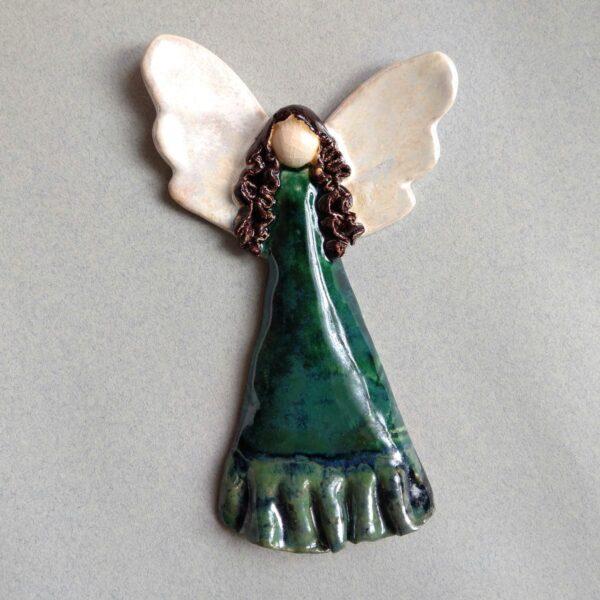 Anioł ceramiczny - Zielony