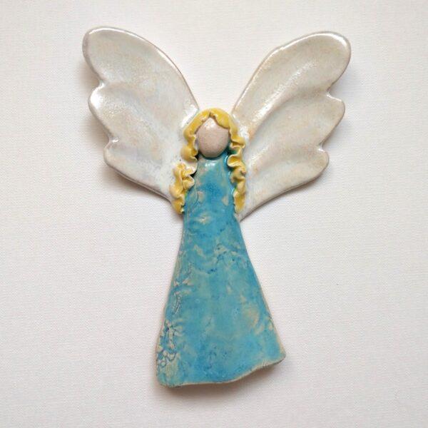 Anioł ceramiczny - Błękitny