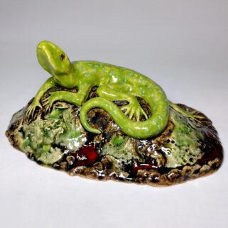Figurka ceramiczna Zielona Jaszczurka
