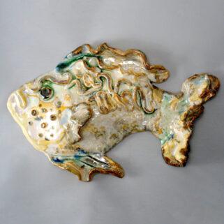 Ryba ceramiczna beżowa, zawieszka na ścianę, rękodzieło