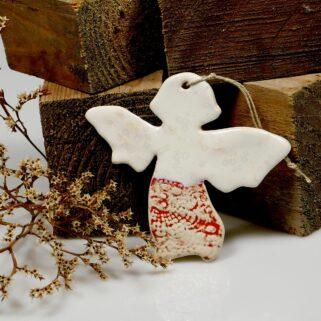 Aniołek zawieszka ceramiczna, doskonała dekoracja świąteczna, lub ozdoba całoroczna, oryginalny prezent na wiele okazji, rękodzieło.
