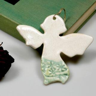 Ceramiczny aniołek prezent na komunię lub oryginalne podziękowanie dla gości.