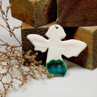 Prezent świąteczny aniołek ceramiczny, ręcznie wykonana ozdoba do powieszenia na ścianie, oknie lub choince, dekoracja stołu lub paczki.