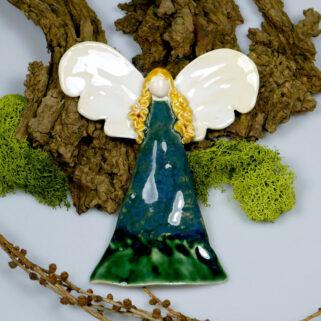 Zielony anioł ceramiczny, zawieszka na ścianę