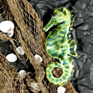 Ceramiczny Konik Morski - Zielony, dekoracja marynistyczna