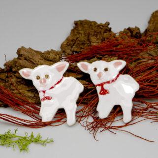 Świąteczne baranki ceramiczne, wiosenna dekoracja, dodatek do wystroju stołu świątecznego, koszyczka ze święconką lub zawieszka na ścianę.