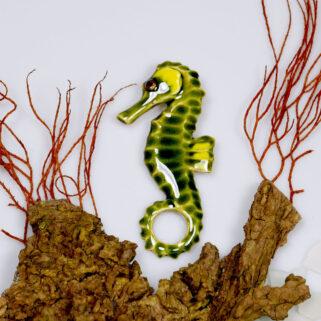 Konik Morski - Zielono - Żółty ceramiczna zawieszka, wystrój wnętrz