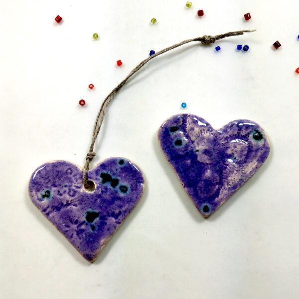 Fioletowe serca ceramiczne