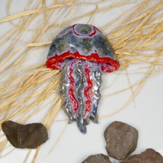 Dekoracja marynistyczna, meduza ceramiczna, szkliwiona