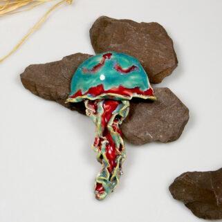Meduza ceramiczna, dekoracja marynistyczna do zawieszenia na ścianę