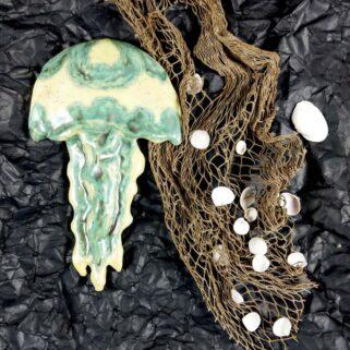 Meduza ceramiczna - Zielona, zawieszka na ścianę