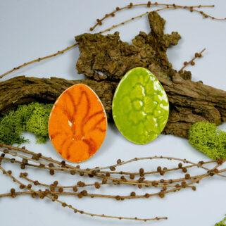 Wielkanocne jajka ceramiczne, wiosenna dekoracja, do koszyczka ze święconką, wystroju stołu świątecznego, dodatek do stroika, lub zawieszka.