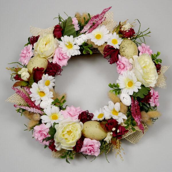Wianek wiosenny Kwiatowy, dekoracja świąteczna na stół lub ścianę w kolorze białym i różowym