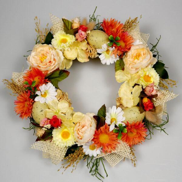 Wianek wiosenny Ciepły, dekoracja wielkanocna w kolorze pomarańczowym z kwiatów i jajeczek
