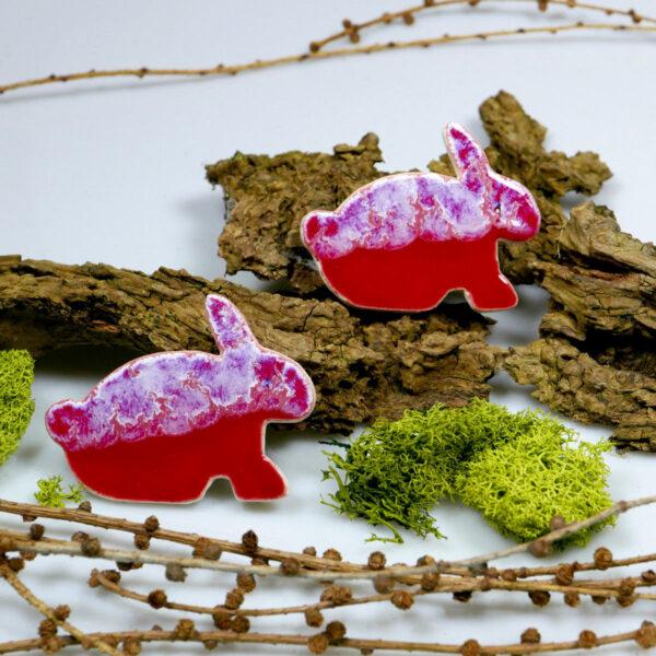 Dekoracja wielkanocna - zajączki ceramiczne w wesołych barwach, ozdoba na magnes