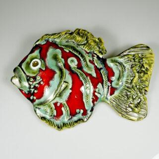 Ryba ceramiczna Szalona, kolorowa, niepowtarzalna ozdoba na ścianę