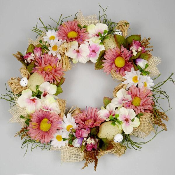 Wianek wiosenny Beztroski, dekoracja wielkanocna z kwiatów