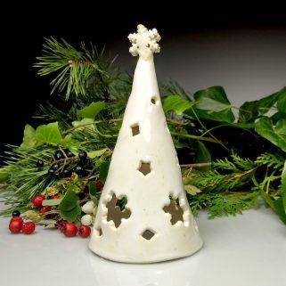 Biała choinka ceramiczna - lampion