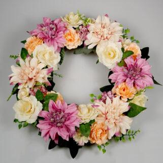 Wianek kwiatowy Letni Poranek ozdoba na ścianę salonu