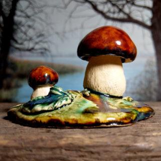 Ceramiczne grzyby prawdziwki dekoracja