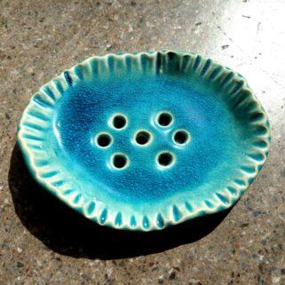Turkusowa mydelniczka ceramiczna