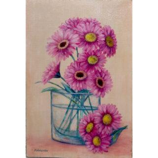 Kwiaty w szklanym wazonie - obraz olejny