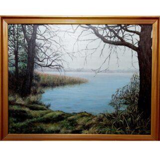 Nad jeziorem - obraz na płótnie
