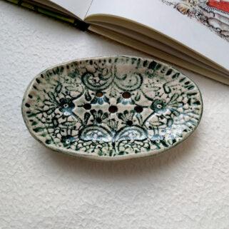 Mydelniczka ceramiczna zielona koronka