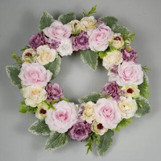 Wianek całoroczny Romantyczny Wieczór wykonany z różowo-fioletowy kwiatów