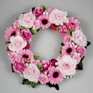 Wianek kwiatowy Różowe Szczęście całoroczna ozdoba pokoju