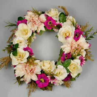 Wianek letni Sielskie Klimaty ręcznie wykonany z barwnych kwiatów