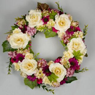 Wianek letni Skąpany w Słońcu dekoracja z kwiatów sztucznych
