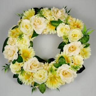 Wianek na drzwi Słoneczny Poranek dekoracja z żółtych kwiatów sztucznych